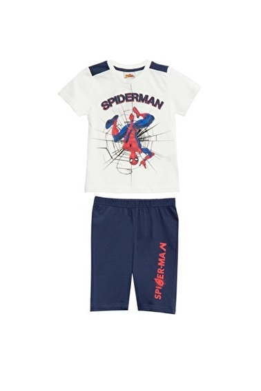 Spider-Man Spiderman Lisanslı Kırmızı Erkek Çocuk Bermuda Takımı Beyaz
